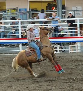 A night at the rodeo. Cody, Wyoming. Hitting the brakes!
