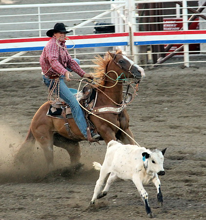 A night at the rodeo. Cody, Wyoming. Calf roping.